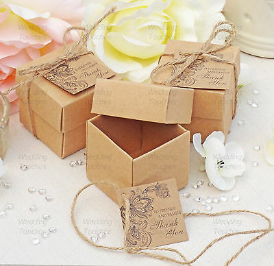 Rustic Vintage Shabby Chic Wedding Favour Boxes With Matching Tags