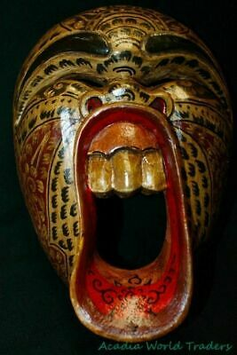 Balinese Mask Screaming Demon Tattoo Bali Folk Art hand carved wood Beige