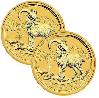 Lot of 2 - 2015-P $5 1/20oz Gold Australian Year of the Goat .9999 fine BU