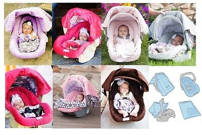 WHOLE CABOODLE CarSeat Canopy 5pc Set for girl Infant Car Seat Cover Blanket NEW