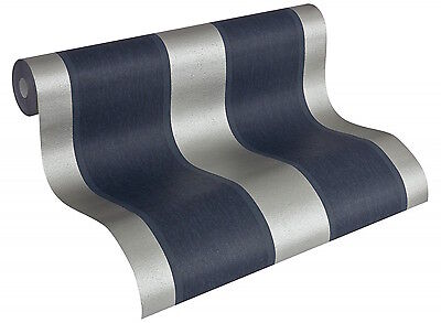 Navy Blue & Silver Glamorous Wide Stripe Wallpaper - Mix with Vintage - 10m Roll