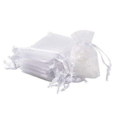 100PCS Small White Jewelry Wrapping Bag Wedding Party Gifts Organza Bags 5x7cm