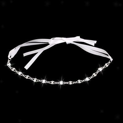 Wedding Bridal Crystal Diamante Headpiece Ribbon Headband Tiara Hair Jewelry