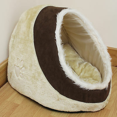Brown & Beige Warm Fleece Igloo Pet Bed with Fur Trim For Dog/Puppy/Cat/Kitten