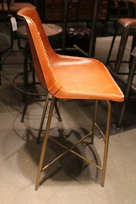 """Set of Two 38"""" H Counter Bar Stool Black brass Frame Leather Cigar Brown Nice"""