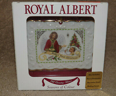 Royal Albert Old County Roses Baby's 1st Christmas ornament can be personalized