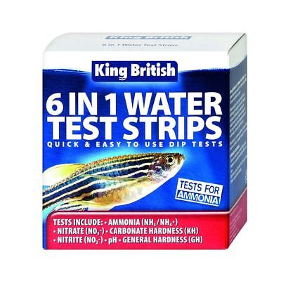 King British 6 in 1 Water Test Strips Kit Aquarium Pond NO2 NO3 GH PH KH NH3