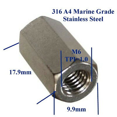 Qty 1 Hex Rod Coupling Nut M6 (6mm) 316 Marine Stainless Steel Coupler Connector