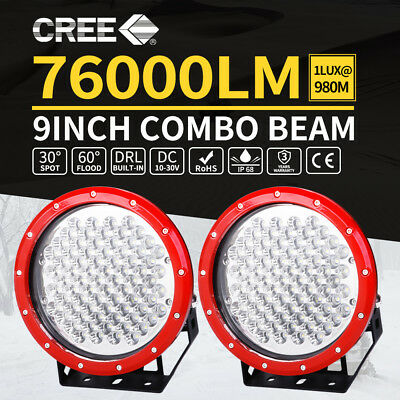 2X 9Inch CREE Round Spot LED Driving Light Red Spotlights Work OffRoad 4X4 Truck