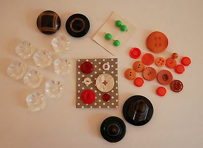 VIntage button collection, lucite and plastic, clear, orange, green