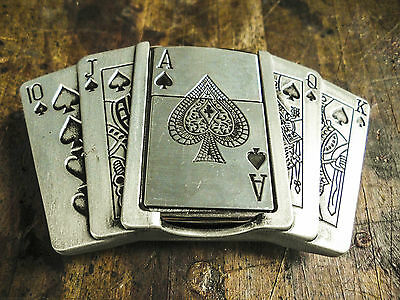 Belt Buckle - Playing Cards with Lighter Pewter finish fits 40mm belts - Qty 1