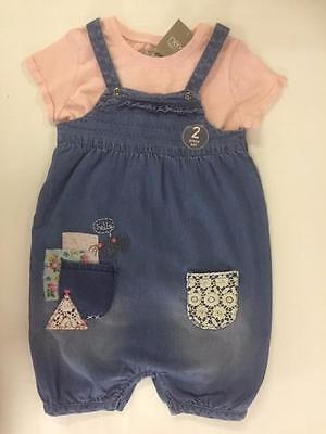 New NEXT GIRLS DENIM ROMPER AND T SHIRT SET Summer Holiday Girl BNWT