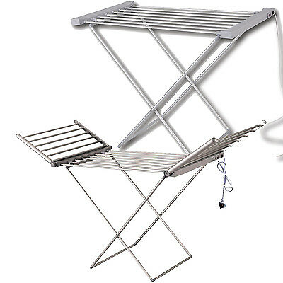 Portable Heated Clothes Airer Dryer Indoor Horse Rack Laundry Folding Washing