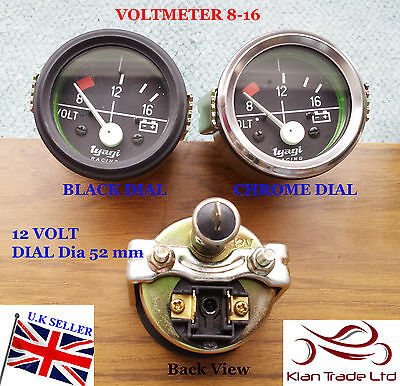 "2"" 52Mm Car Universal 8-16V Voltmeter Clock Black Chrome Bezel 12V Dial Gauge"