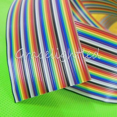 1M 2M 5M 10M 40 pin Flat Color Rainbow Ribbon IDC Cable Wire Rainbow Cable