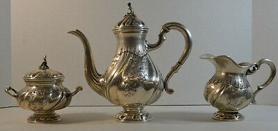 Antique .800 Silver Repousse Coffee Set