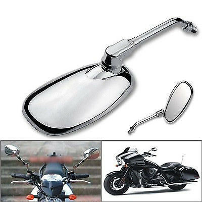 Motorcycle Chrome Oval Side Rearview Mirrors For Cruiser Chopper Custom 10MM