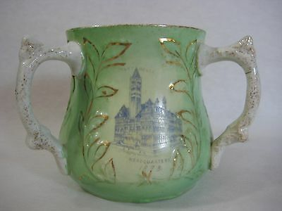 Antique 1898 Tancred Commandery No.48 American China, 3 Handled Green Loving Cup