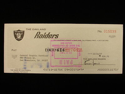 Oakland Raiders Check Signed by Al Davis – Football Hall of Famer