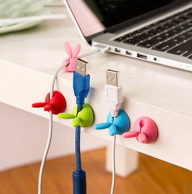 4PC Rabbit Cable Drop Clip Desk AGUR Tidy Organiser Wire Cord USB Charger Holder
