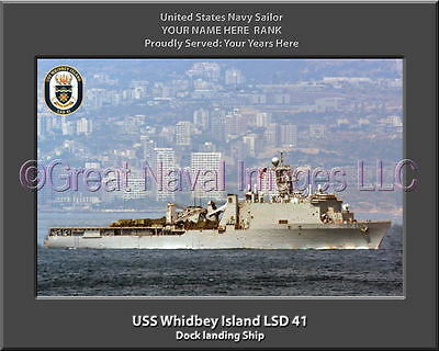 USS Whidbey Island LSD 41 Personalized Canvas Ship Photo Print Navy Veteran Gift