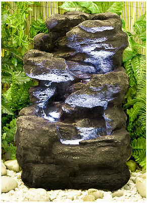 2 Step Rock Cascade Water Feature Fountain Waterfall Natural Stone Effect Garden