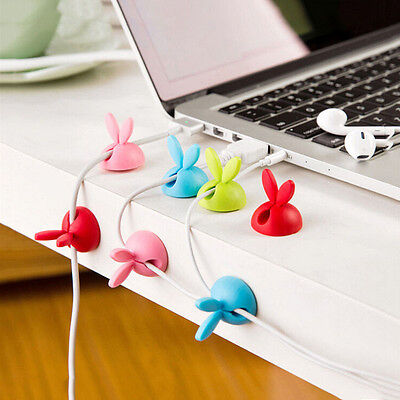 4x Rabbit Cord Clips Line Wire USB Charger Cable Holder Desk Tidy Organiser New