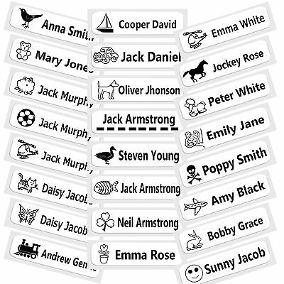 50 Pre-Cut Iron-On School Name Tapes Labels Tags For Schoolwear - Designs