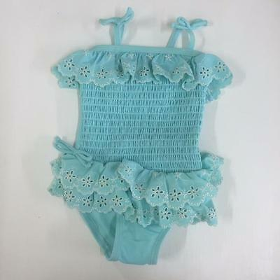 NEXT GIRLS BRODERIE RUFFLE SWIMSUIT AQUA BLUE Various Sizes Holiday Beach BNWT