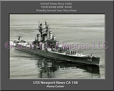79eb5ba18 USS Newport News CA 148 Personalized Canvas Ship Photo 2 Print Navy Veteran  Gift