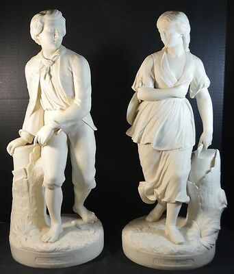 """Antique Copland Parian Statuettes """"The Trysting Tree"""" by George Halse"""