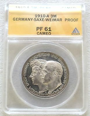 1910 A Silver German Saxe-Weimar-Eisenach 2 Mark Anacs Proof 61 Cameo