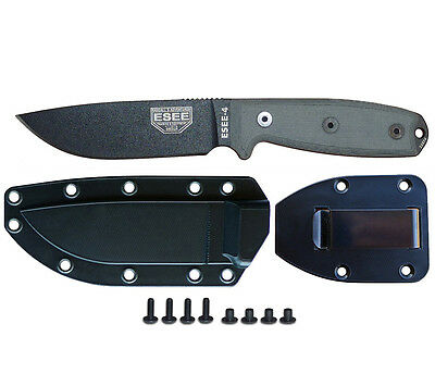 Esee Model 4 Knife Plain Edge Black Finish Sheath and Belt Clip Plate Esee 4P