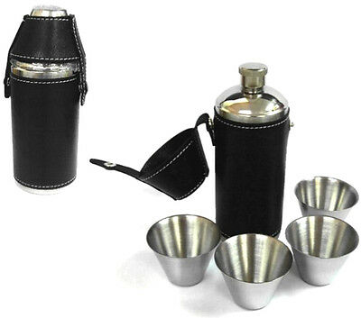 HUNTING camping FLASK SET W 4 CUPS stainless hip flasks NEW drinking liquor sets