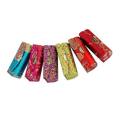 Retro Flower Design  Brocade Embroidered Holder Lipstick Case Box with Mirror