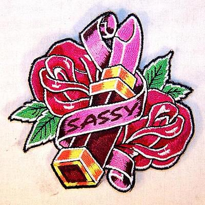 bb5317768804 SASSY LIPSTICK ROSE EMBROIDERED PATCH P587 iron on sew biker JACKET patches  NEW