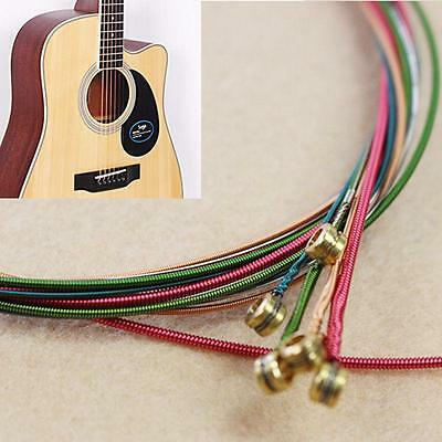 6pcs Hot Rainbow Ballad Steel String Colorful Strings Set For Acoustic Guitar