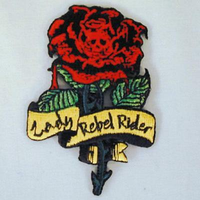 LADY REBEL RIDER  EMBROIDERED PATCH P156  Iron on  SEWN biker JACKET patches NEW