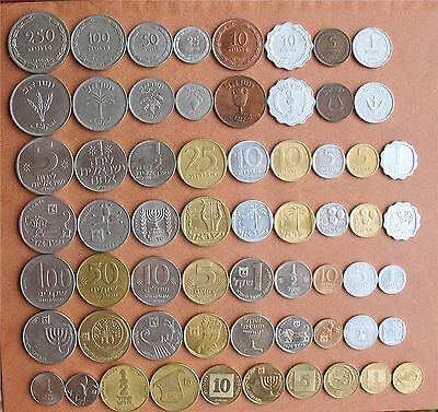 Complete Israel Coins Set Pruta, Lira, Old & New Sheqel - Lot of 31 Coins