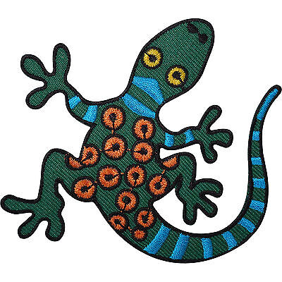 Green Gecko Lizard Embroidered Iron / Sew On Patch Clothes Shirt Jeans Bag Badge