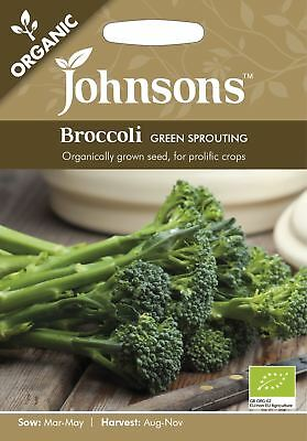 Johnsons Pictorial Pack Vegetable Broccoli Green Sprouting ORGANIC 150 Seeds