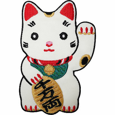 Japanese Lucky Waving White Cat Embroidered Iron / Sew On Patch T Shirt Badge