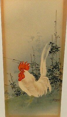 F. Kamo Japanese Rooster Original Watercolor Painting Signed