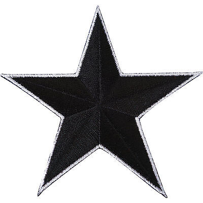 Black Star Embroidered Iron / Sew On Patch T Shirt Dress Skirt Jeans Coat Badge