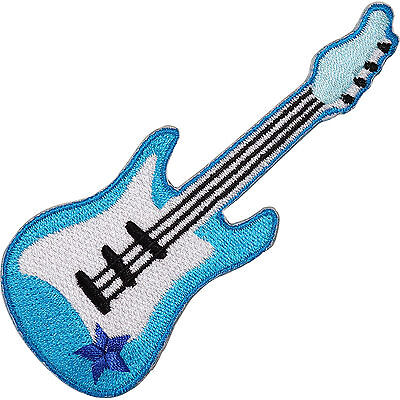 Blue Electric Guitar Embroidered Iron / Sew On Patch Rock Music Shirt Bag Badge