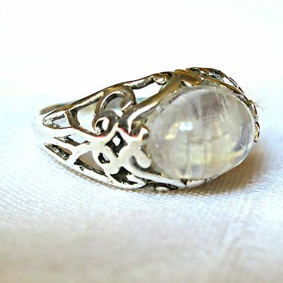 925 Sterling Silver Natural Moonstone Crystal Ornate Ring~Pagan Jewellery~Wicca