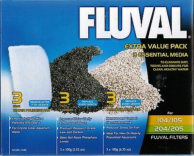 Fluval 104/105/106/204/205/206 Extra Value Media Pack Carbon Ammonia Remover