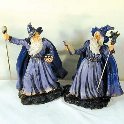 LG WIZARD WITH CANE FANTASY FIGURE wizards magic decor midieval poly resin new