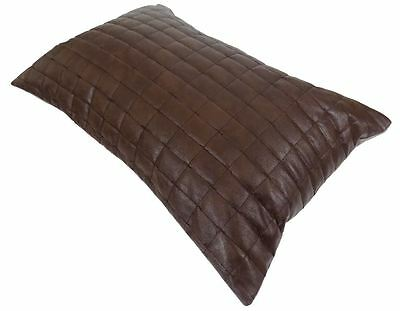 Superb Faux Leather Padded Soft Brown Squares Cushion Cover 35 X 50Cm