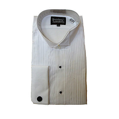 Mens 100% Cotton Tuxedo Shirt, White, Pleated, Wing Collar, NEW-FREE BOW TIE